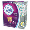 Ultra Soft Facial Tissue, 2-Ply, White, 56 Sheets/Box, 4/Pack