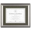 DAX® Photo Frame, Desk/Wall, Plastic, 11 x 14, 8 1/2 x 11, Charcoal/Nickel-Tone DAXN15783ST