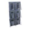 deflect-o® Multi-Pocket Wall-Mount Literature Systems, 18 1/4w x 35 5/8h,Clear/Black DEF56401