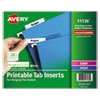 "<strong>Avery®</strong><br />Tabs Inserts For Hanging File Folders, 1/5-Cut Tabs, White, 2"" Wide, 100/Pack"
