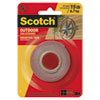 "Scotch® Exterior Weather-Resistant Double-Sided Tape, 1"" x 60"", Gray - 411P"
