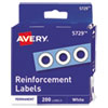 "<strong>Avery®</strong><br />Dispenser Pack Hole Reinforcements, 1/4"" Dia, White, 200/Pack, (5729)"