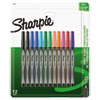 <strong>Sharpie®</strong><br />Water-Resistant Ink Plastic Point Pen, Stick, Fine 0.4 mm, Assorted Ink and Barrel Colors, Dozen