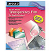 <strong>Apollo®</strong><br />Quick-Dry Color Inkjet Transparency Film w/Handling Strip, Letter, Clear, 50/Box