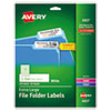 <strong>Avery®</strong><br />Extra-Large TrueBlock File Folder Labels with Sure Feed Technology, 0.94 x 3.44, White, 18/Sheet, 25 Sheets/Pack