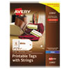 <strong>Avery®</strong><br />Printable Rectangular Tags with Strings, 2 x 3 1/2, Matte White, 96/Pack