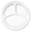 """<strong>Dart®</strong><br />Famous Service Plastic Dinnerware, Plate, 3-Compartment, 10.25"""" dia, White, 125/Pack, 4 Packs/Carton"""