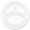 "<strong>Dart®</strong><br />Concorde Foam Plate, 3-Comp, 9"" dia, White, 125/Pack, 4 Packs/Carton"