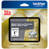 "<strong>Brother</strong><br />TZe Premium Laminated Tape, 0.94"" x 26.2 ft, White on Silver"