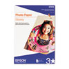 Epson® Glossy Photo Paper, 60 lbs., Glossy, 13 x 19, 20 Sheets/Pack EPSS041143