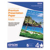 Epson® Premium Matte Presentation Paper, 45 lbs., 8-1/2 x 11, 50 Sheets/Pack EPSS041257
