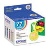 Epson® T077920 (77) Claria High-Yield Ink, Assorted, 5/PK EPST077920