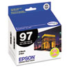 Epson No. 97 Extra-High Capacity Black Ink Cartridge for WorkForce 600, WorkForce 40, Pack of 2