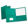 Twin-Pocket Folder, Embossed Leather Grain Paper, Teal, 25/box