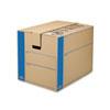 Bankers Box® SmoothMove Prime Large Moving Boxes, 24l x 18w x 18h, Kraft/Blue, 6/Carton FEL0062901
