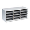 Fellowes® Particle Board Desktop Sorter, 12 Sections, 29 x 11 7/8 x 12 15/16, Dove Gray FEL25004