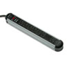 Fellowes® Metal Surge Protector, 7 Outlets, 6 ft Cord, 1250 Joules, Silver/Black FEL99081