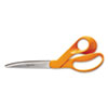 "HOME AND OFFICE SCISSORS, 9"" LONG, 4.5"" CUT LENGTH, ORANGE OFFSET HANDLE"