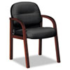 HON® 2190 Pillow-Soft Wood Series Guest Arm Chair, Mahogany/Black Leather HON2194NSR11