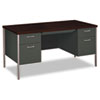 "34000 Series Double Pedestal Desk, 60"" x 30"" x 29.5"", Mahogany/Charcoal"