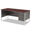 "<strong>HON®</strong><br />34000 Series Right Pedestal Desk, 66"" x 30"" x 29.5"", Mahogany/Charcoal"