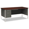 "<strong>HON®</strong><br />34000 Series Left Pedestal Desk, 66"" x 30"" x 29.5"", Mahogany/Charcoal"
