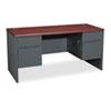 HON® 38000 Series Kneespace Credenza, 60w x 24d x 29-1/2h, Mahogany/Charcoal HON38852NS