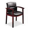 HON® 5000 Series Park Avenue Collection Guest Chair, Black Vinyl/Mahogany Finish HON5003NEE11