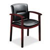 HON® 5000 Series Park Avenue Collection Guest Chair, Black Leather/Mahogany Finish HON5003NSS11