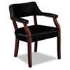 HON® 6550 Series Guest Arm Chair, Mahogany/Black Vinyl Upholstery HON6551NEJ10
