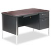 HON® Mentor Series Single Pedestal Desk, 48w x 30d x 29-1/2h, Mahogany/Charcoal HON88251RNS