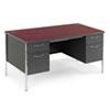 HON® Mentor Series Double Pedestal Desk, 60w x 30d x 29-1/2h, Mahogany/Charcoal HON88962NS