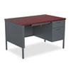 HON® Metro Classic Right Pedestal Desk, 48w x 30d x 29 1/2h, Mahogany/Charcoal HONP3251RNS