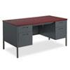 HON® Metro Classic Double Pedestal Desk, 60w x 30d x 29 1/2h, Mahogany/Charcoal HONP3262NS