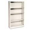 HON® Metal Bookcase, Four-Shelf, 34-1/2w x 12-5/8d x 59h, Putty HONS60ABCL