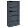 HON® Metal Bookcase, Five-Shelf, 34-1/2w x 12-5/8d x 71h, Charcoal HONS72ABCS