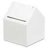 HOSPECO® Double Entry, Swing Top Floor Receptacle, Metal, White - 2201