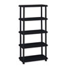 Rough N Ready Five-Shelf Open Storage System, Resin, 36w x 18d x 74h, Black