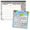 DoodlePlan Desk Pad Calendar w/Coloring Pages, 22 x 17, 2019