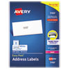 <strong>Avery®</strong><br />Easy Peel White Address Labels w/ Sure Feed Technology, Laser Printers, 1 x 2.63, White, 30/Sheet, 100 Sheets/Box