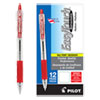 EasyTouch Retractable Ballpoint Pen, Medium 1mm, Red Ink, Clear Barrel, Dozen