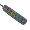 Kensington® SmartSockets Color-Coded Strip Surge Protector, 6 Outlets, 8ft Cord, 1260 Joules KMW62144