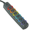 SmartSockets Color-Coded Strip Surge Protector, 6 Outlets, 7 ft Cord, 945 Joules