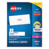 <strong>Avery®</strong><br />Easy Peel White Address Labels w/ Sure Feed Technology, Laser Printers, 1 x 4, White, 20/Sheet, 100 Sheets/Box