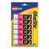 <strong>Avery®</strong><br />Permanent Glue Stic Value Pack, 0.26 oz, Applies White, Dries Clear, 6/Pack