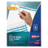 <strong>Avery®</strong><br />Print and Apply Index Maker Clear Label Dividers, 5 White Tabs, Letter, 25 Sets