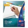 PRINT AND APPLY INDEX MAKER CLEAR LABEL DIVIDERS, 12 COLOR TABS, LETTER, 5 SETS