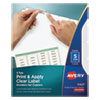 Print and Apply Index Maker Clear Label Dividers, Copiers, 5-Tab, Letter, 5 Sets
