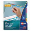 <strong>Avery®</strong><br />Print and Apply Index Maker Clear Label Plastic Dividers with Printable Label Strip, 5-Tab, 11 x 8.5, Translucent, 5 Sets