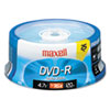 Maxell® DVD-R Discs, 4.7GB, 16x, Spindle, Gold, 25/Pack MAX638010